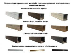 Направляющие однопосные для шкафа купе ламинированные, шпонированные, крашенные эмалью Черногорск