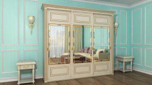 Шкаф купе с фрезеровкой и зеркальным панно Черногорск