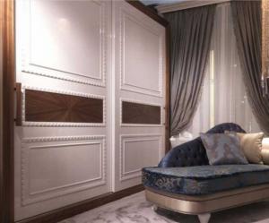 Шкаф купе с эмитацией филенки и фигурной накладкой, ламинация, шпон, эмаль Черногорск